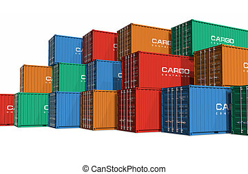 Stacked color cargo containers isolated on white background...