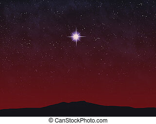 Bright Star - Bright star over horizon at sunset or sunrise...