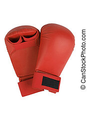 Red karate gloves Isolated on white Clipping path included...