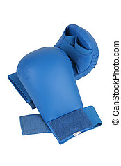 Blue karate gloves Isolated on white Clipping path included...