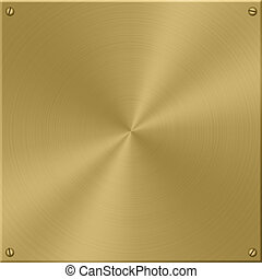 Gold Plate - Gold plate, brushed in circles, with screws.