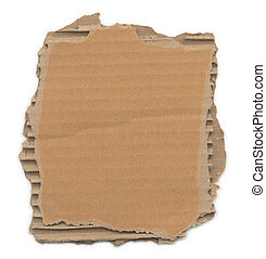 Torn Cardboard - Piece of corrugated cardboard with torn...