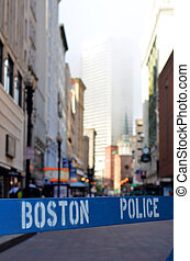 Boston Police Barrier - A Police Barricade At A Crime Scene...