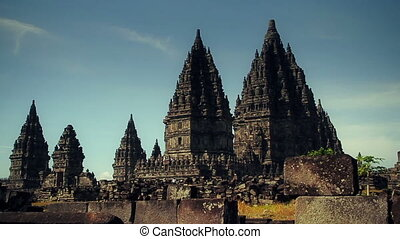 Hindu temple Prambanan. Track dolly - Candi Prambanan is the...