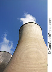 Heat power plant - View of the huge water towers in a heat...