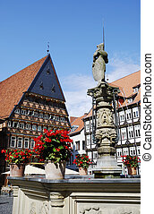 Hildesheim - Fountain at the market square in Hildesheim