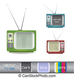 Image of various colorful retro television isolated on a white background.