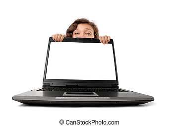 Woman Hiding Behind a Laptop - Young woman hiding behind a...