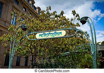 "Sign ""Metropolitain"", Paris - The vintage sign..."