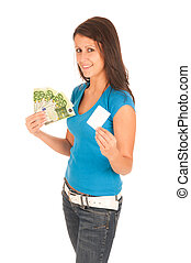 Attractive young girl with euro banknotes in her hand