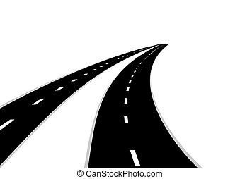 Roads - Two roads with a dividing strip Road stretching into...