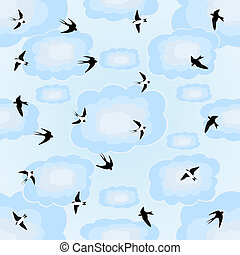 Swallows in the sky - Seamless blue background of flying...