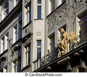 Prague, historic house with statue