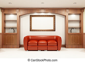 Red sofa with place on the wall for yours text