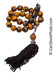 prayer bead isolated on white - tiger's-eye stone prayer...