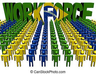 people with workforce Brazilian flag text - lines of people...