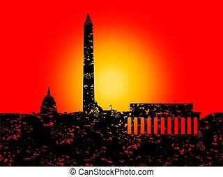Grunge Washington DC skyline with sunset