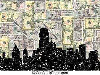 Grunge Dallas skyline with dollars