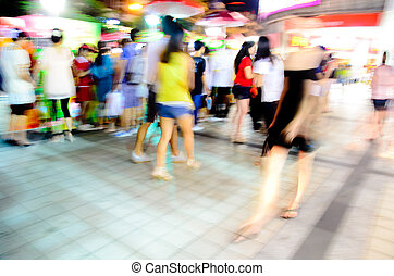city people crowd on business walking street blur motion