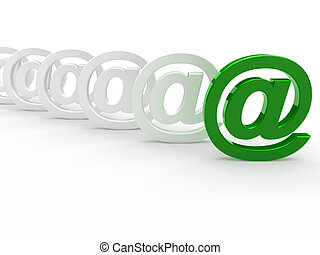 3d green white email sign