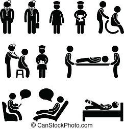 doutor, enfermeira, hospitalar, paciente, doente