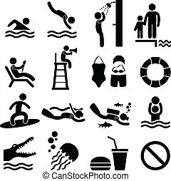 Swimming Pool Sea Beach Icon Symbol - A set of swimming pool...