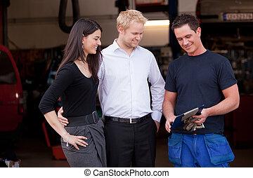 szczęśliwy, klient, Para, mechanik