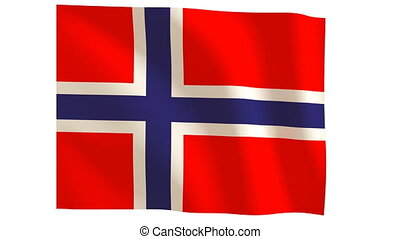 Norway flagg 019 - The Norway flag with wind.