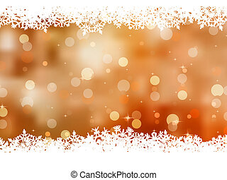 Orange background with snowflakes. EPS 8