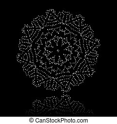 Christmas snowflake on black background. EPS 8