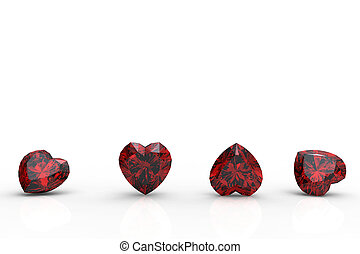 Collection garnet shape of heart on white background