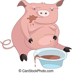 Cartoon Character Pig Isolated on White Background Vector