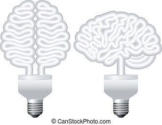 eco bulb brain, vector
