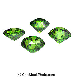 Peridot - Round peridot isolated on white background...