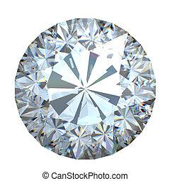 Diamond - Round brilliant cut diamond perspective isolated...