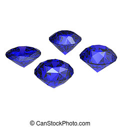 Round blue sapphire isolated on white background Gemstone