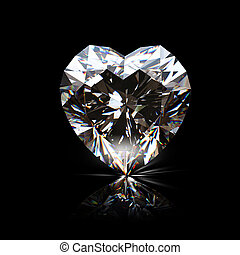 Brilliant shape of heart on black background