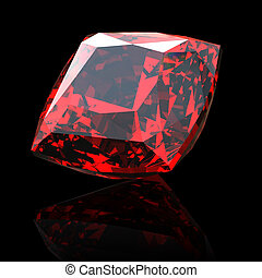 Jewelry gems shape of square on black background Ruby