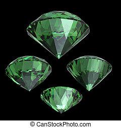 Round emerald. Gemstone