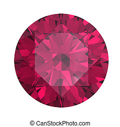 Round ruby isolated on white background Gemstone