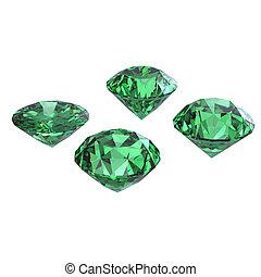 Round emerald isolated on white background. Gemstone