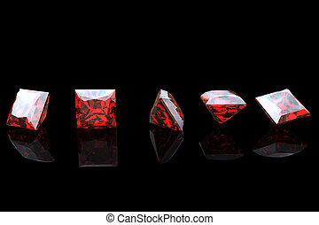 Jewelry gems shape of square on black background, Ruby