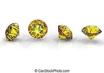 Round yellow sapphire isolated on white background. Gemstone...