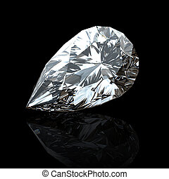 Gemstome shape of pear - Jewelry gems on black background....