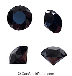 Round black sapphire isolated on white background Gemstone