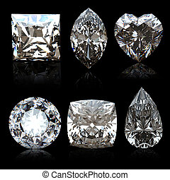 Collection diamonds diferent shapes  on black background.