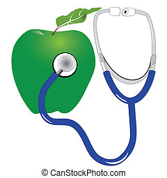 green apple and stethescope