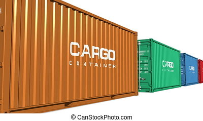 Color moving cargo containers - Freight shipping concept:...