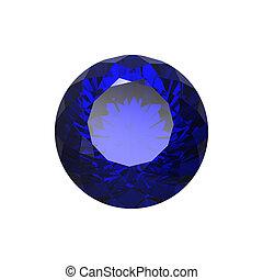 Round blue sapphire isolated. Gemstone - Round blue sapphire...