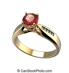 Ring with diamond isolated